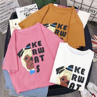 Chogen - Short-Sleeve Dog Print T-Shirt
