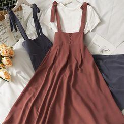Lemongrass(レモングラス) - Ribbon-Strap Overall Dress