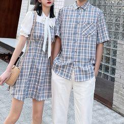 Ink Brush - Couple Matching Short-Sleeve Plaid Shirt / Mini A-Line Dress