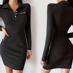 UUZONE - Letter Embroidered Polo Dress