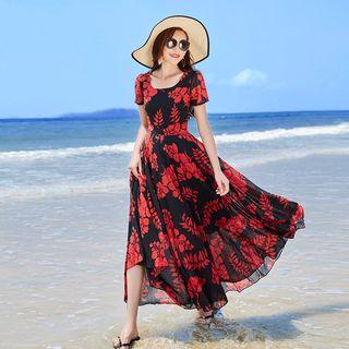 EFO - Short Sleeve Floral Print Maxi Sundress