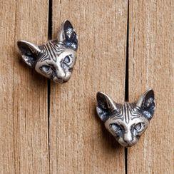 Andante - 925 Sterling Silver Cat Earring