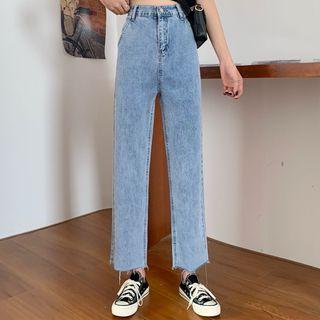 Melon Juice - High-Waist Fray Hem Cropped Straight Leg Jeans