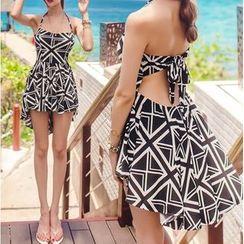 Salanghae - Couple Matching Patterned Swimdress / Swim Shorts