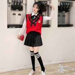 JUNNIM - Knit Vest / Tie-Neck Shirt / Pleated A-Line Mini Skirt / Over-The-Knee Socks / Set