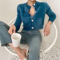 DABAGIRL - Square-Button Furry Cardigan