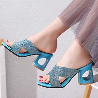 Kireina - Cross Strap Block Heel Slide Sandals