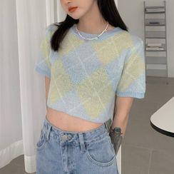 monroll - Argyle Knit Vest / Short-Sleeve Top