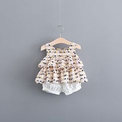 Hecto - Kids Set: Leaf Print Sleeveless Top + Shorts