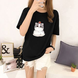 Carmenta - Cat Print Short-Sleeve T-Shirt