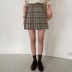 MERONGSHOP - Plaid Pleated Miniskirt