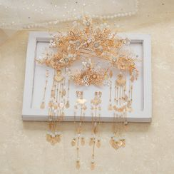 la Himi - Set: Wedding Branches Tiara + Hair Stick + Hair Clip + Fringed Earring