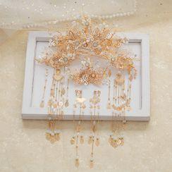 la Himi - 套装: 婚礼树枝皇冠 + 发簪 + 发夹 + 流苏耳环
