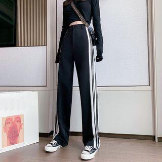 Isaaca - 高腰條紋直筒運動褲