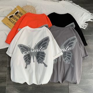 8th Sense - Short-Sleeve Oversize Butterfly Printed T-Shirt