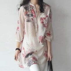 JOWI - Floral Print 3/4-Sleeve Tunic