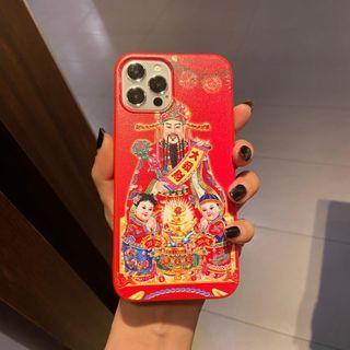 Huella(ヒューラ) - God of Wealth Phone Case For iPhone SE / 7 / 7 Plus / 8 / 8 Plus / X / XS / XR / XS Max / 11 / 11 Pro / 12 Mini / 12 / 12 Pro / 12 Pro Max