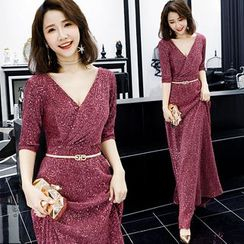 Sennyo - Elbow Sleeve V-Neck Glittered A-Line Evening Gown