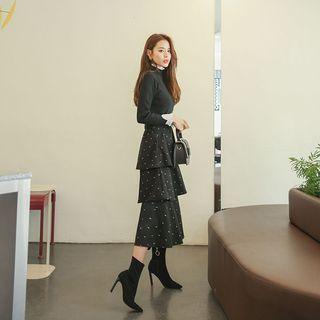 DABAGIRL - Set: Frilled Knit Top + Dotted Cancan Skirt