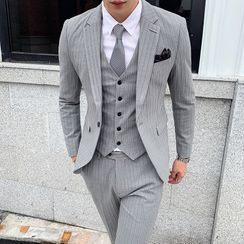 Deepwood(ディープウッド) - Suit Set: Striped Blazer + Vest + Dress Pants