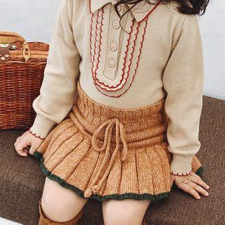Pluie - Kids Contrast Trim Collared Sweater