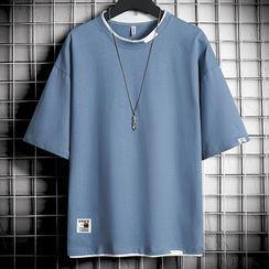 Ninine - 短袖假兩件貼布繡T裇