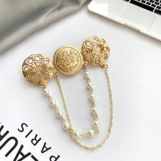 Mimishi - Alloy Disc Faux Pearl Chained Brooch