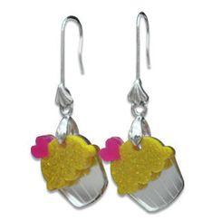 Sweet & Co. - Sweet Glitter Yellow Mirror Cupcake Silver Earrings