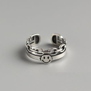 Zundiao - S925 Sterling Silver Smiley Face Layered Open Ring