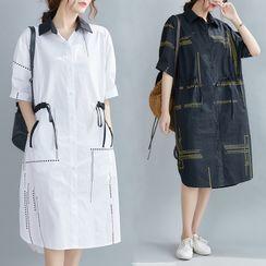 RAIN DEER - Short-Sleeve Dotted Shirtdress