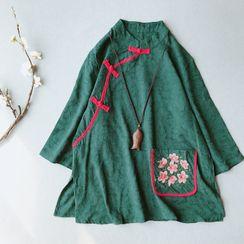 Vateddy - 繡花盤扣襯衫