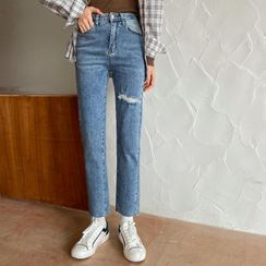 Piwonia - Ripped Slim-Fit Jeans