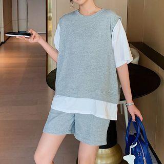 Jezpa - Maternity Set: Mock Two-Piece T-Shirt + Shorts