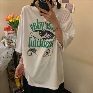 Cloud Nine - Short-Sleeve Eye Print T-Shirt