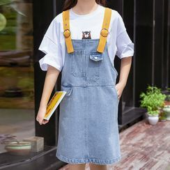 YICON - Contrast Strap Denim A-Line Pinafore Dress