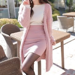 MyFiona - Furry Bouclé-Knit Long Cardigan