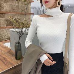 Maido - Long-Sleeve Asymmetric Cold Shoulder Knit Top