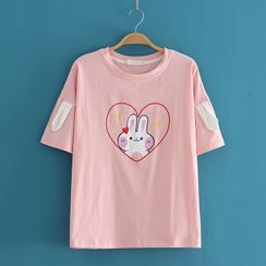 Kawaii Fairyland - Round Neck Rabbit Print Short Sleeve T-Shirt