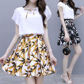 BEAUSY - Set: Bow Accent Cap-Sleeve Blouse + Leaf Print Mini A-Line Skirt