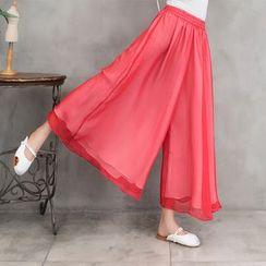 Goldeon - Wide-Leg Chiffon Pants