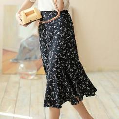 Ashlee - Floral Print Midi Skirt