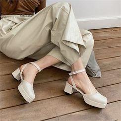 MONOBARBI - Platform Ankle-Strap Block-Heel Sandals