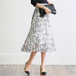 CHICLINE - TALL SIZE Band-Waist Printed Skirt