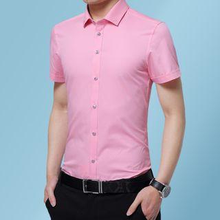 Carser - 纯色短袖衬衫