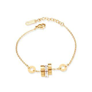 BELEC - Fashion Simple Plated Gold Roman Numerals Geometric Circle 316L Stainless Steel Bracelet with Cubic Zirconia
