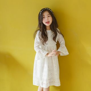 Meroboz - Kids Lace Long-Sleeve A-Line Dress