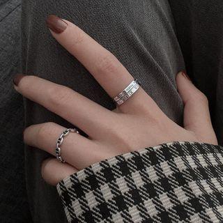Fireflicka - 925纯银罗马数字 / 几何开口戒指