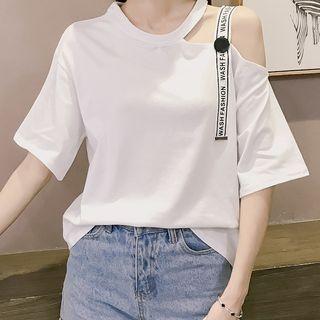 Linchi - Elbow-Sleeve Cold Shoulder T-Shirt