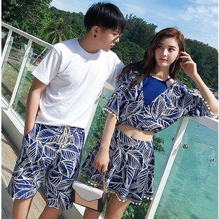 Higun - Couple Matching Pattern Swim Dress / Tankini Top / Beach Shorts / Set