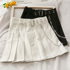 Lemongrass - High-Waist Pleated Mini Skirt with Belt & Chain
